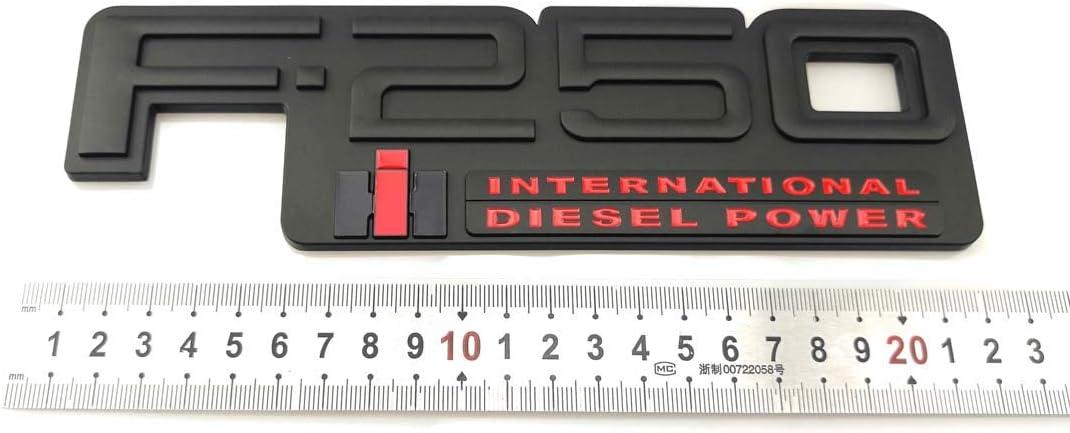2x F-250 International Diesel Power Emblems Side Fender Door Decal Nameplate Badge Replacement for 83-94 F250 Black//Red
