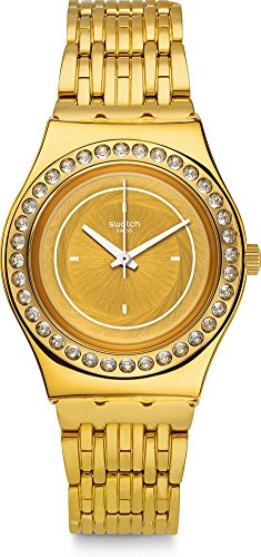 Swatch Women's Glass Of Bubbles YLG136G Gold Stainless-Steel Swiss Quartz Fashion Watch