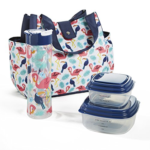 Fit & Fresh Westport Insulated Lunch Bag Kit for Women with Reusable Container Set, Matching 20 oz. Tritan Water Bottle and Ice Pack, Multi Flamingo Toss