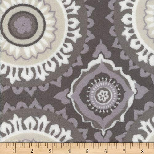 Mook Fabrics Plush Fleece Circles Fabric, Grey, Fabric By The Yard