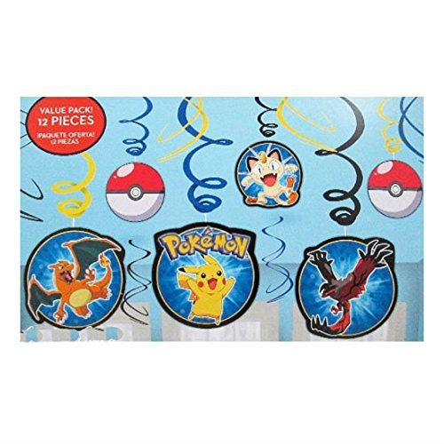 New! Pokemon Pikachu 12 Swirl Decorations Birthday Party Supplies Favors from Unknown