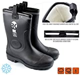 RK Mens Insulated Waterproof Fur Interior Rubber Sole Winter Snow Cold Weather Rain Boots (10 D(M) US)