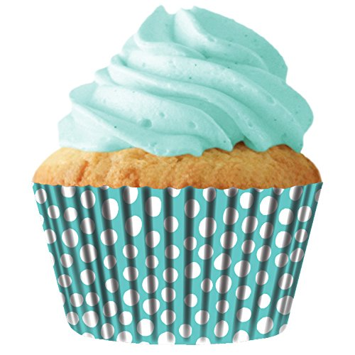 Turquoise Dots Standard Cupcake Baking Cup Liners, 32