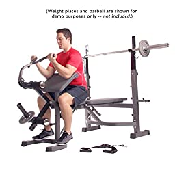 Body Champ Olympic Weight Bench with Preacher Curl, Leg Developer and Crunch Handle, Dark Gray/Black