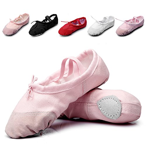 MSMAX Kid Girl's Classic Canvas Practise Ballet Dancing Yoga Shoes,Pink,12 M US