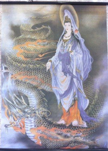 Dragon Kwan Kuan Yin Fabric Wall Scroll Poster