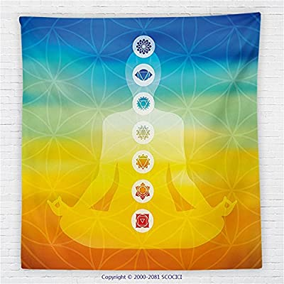 59 x 59 Inches Chakra Decor Fleece Throw Blanket Gradient Colored Digital Female Human Body with Central Sacred Chakra Points Design Blanket Multi