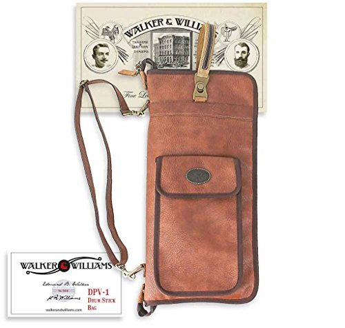 Walker & Williams DPV-1 Chestnut Drum Stick Bag with Detachable Straps Holds 10-12 Pairs ()