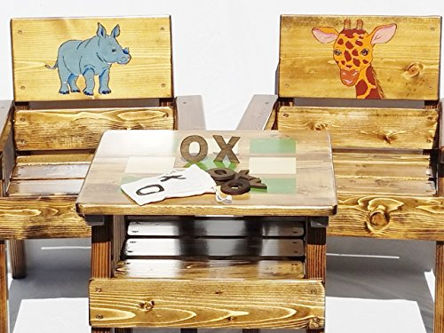 - Table and Chair Set, Kids Furniture, Engraved & Hand Painted Rhinoceros & Giraffe, Indoor/Outdoor Childrens' Heirloom Furniture