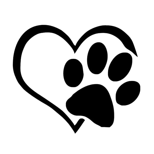 f23ce25c5fbb Image Unavailable. Image not available for. Color: Cat Sticker, Pet Paw  Print with Heart Dog Cat Vinyl Decal ...