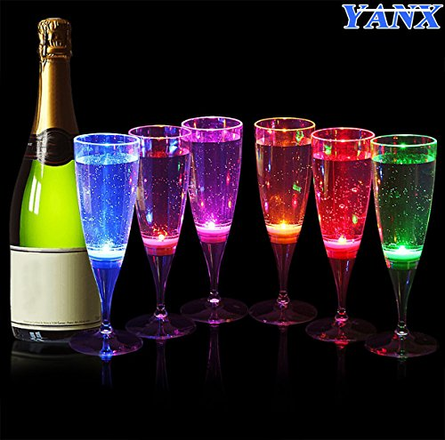 YANX 6 Pack LED Wine Champagne Flute's Light Up Glasses Flashing Cups LED Liquid Activated for Bar Night Club Party Drink Halloween Christmas Wedding Party (Led Bar Glasses)
