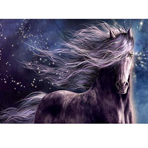 MXJSUA 5D Diamond Painting Round Drill Kits for Adults Pasted Embroidery Cross Stitch Arts Craft for Home Wall Decor Purple Horse 12x16in