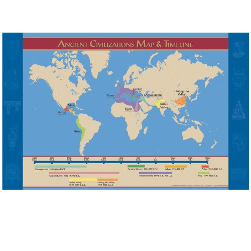 Map Ancient World - Knowledge Unlimited Inc. Ancient Civilizations Map and Timeline- Poster