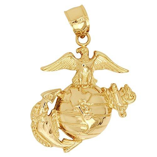 14k Yellow Gold Marine Corps Logo Pendant (Approximate Measurements 26.5mm x 23.5 mm) 14k Yellow Gold Marine