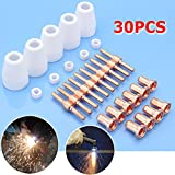 WILLAI 30pcs Copper Thermal Dynamics Plasma Cutter Tip Electrodes Consumables Ceramic Shield Cups Spare Parts Kit For BPS40 Mayitr