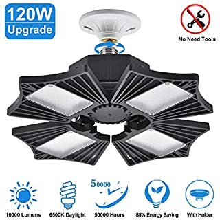 120W LED Garage Lights, Deformable LED Garage Ceiling Lights with 4 Adjustable Wings, 10000LM, E26 LED Shop Light for Warehouse, Workshop, Basement (No Motion Detection) (120W)