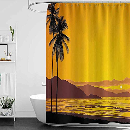 Jouiysce Shower Curtains Gray Fabric Tropical,Coconut Palm Tree on The Beach by Sea at Sunset Sky Island Holiday Picture,Marigold Black W72 x L96,Shower Curtain for Women