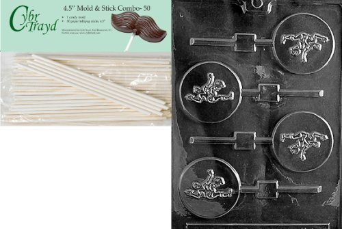 Cybrtrayd 45St50-S047 Soccer Lolly Sports Chocolate Candy Mold with 50-Pack 4.5-Inch Lollipop Sticks by CybrTrayd