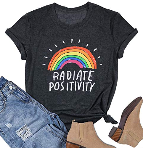(Radiate Positivity Rainbow T-Shirt for Women Funny Letters Print Vacation Graphic Tees Tops Size XL (Grey))