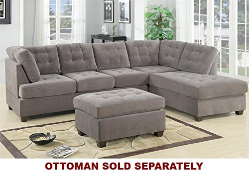 2 pc Charcoal waffle suede fabric upholstered reversible sectional sofa with chaise lounger (Thomasville Sectional Sofas)
