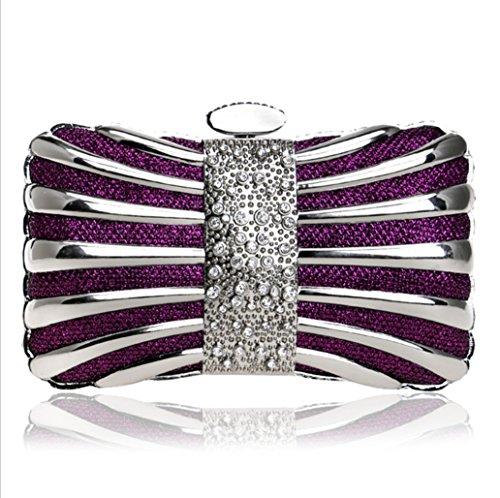 Tie Elegant Crystal Evening Purse Diamonds Mixed Clutch Color Evening Women Bags Bags Party purple TuTu fq45df