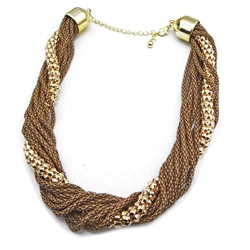 Wiipu Brown Chunky Layered Mesh Snake Chains Bib Statement Necklace(A1621)