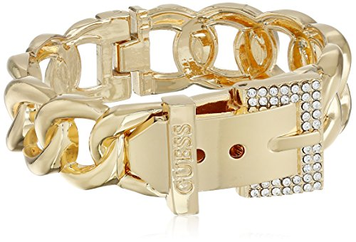 "GUESS ""Basic"" Gold and Crystal Frozen Link Buckle Cuff Bracelet"