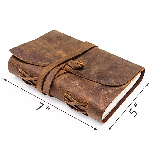 Leather Journal | Vintage Writing Scrapbook | Handmade Leather Bound Diary For Adults & Teens With Unlined Sheets | Notebook For Food & Exercise Planning, Sketches, Thoughts, Weight Watchers & More by RUSTEQUE