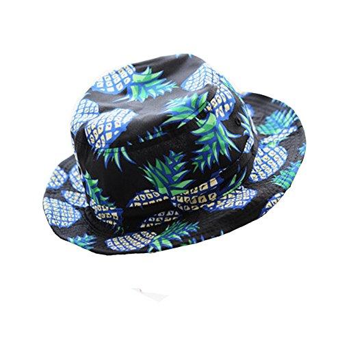[Girls Ladies Headwear Pineapple pattern Wide Rim Flat top fishing Bucket Hat Sun Hat (Black)] (Fruit Hat Lady)