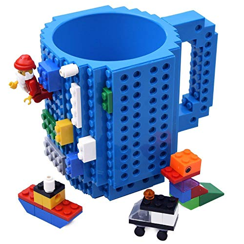 KYONNE Build-on Brick Mug, Lego Style Building Blocks Coffee Cup, Unique Christmas Gift Idea (Blue)