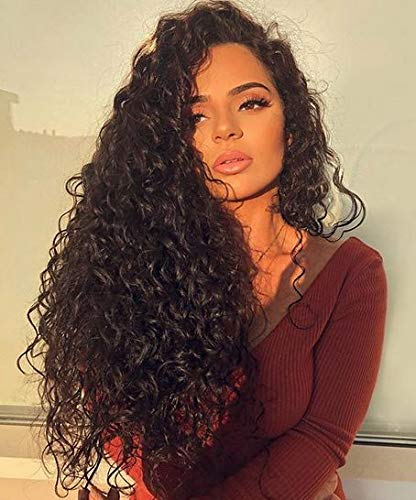 JINGFA Long Curly Lace Front Wigs For Black Women High Density Heat Resistant Fibre Mixed Hair Replacement Wigs Free Part Black Color 24 Inch