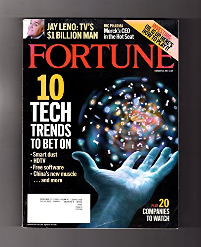 Fortune Magazine   February 23  2004  Jay Leno  Steve Jobs  Merck Ceo Hot Seat  China  Plastic  Acxiom  10 Tech Trends  Helmut Panke  Wine Investment