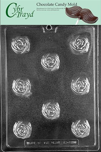 Cybrtrayd Life of the Party AO135 Rose Truffle for Filling All Occasions Chocolate Candy Mold in Sealed Protective Poly Bag Imprinted with Copyrighted Cybrtrayd Molding Instructions (Truffle Filling)