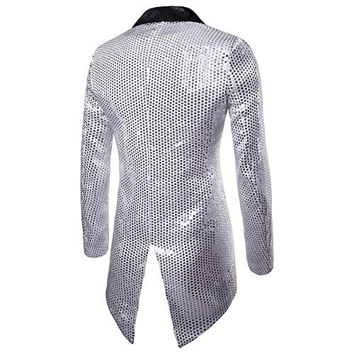 Disco Blazer Manteau Cocktail Costume Fit Slim Rera Un Hommes Paillettes Bouton Argent Spectacle Festival Vintage Veste Mariage Smoking Couleur qvvw0aIF