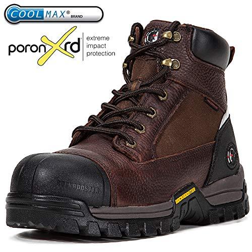 ROCKROOSTER Men's Work Boots, Composite Toe, Waterproof Resistant, Kevlar Puncture, Safety Shoes, EEE-Wide (AT872, US 8)