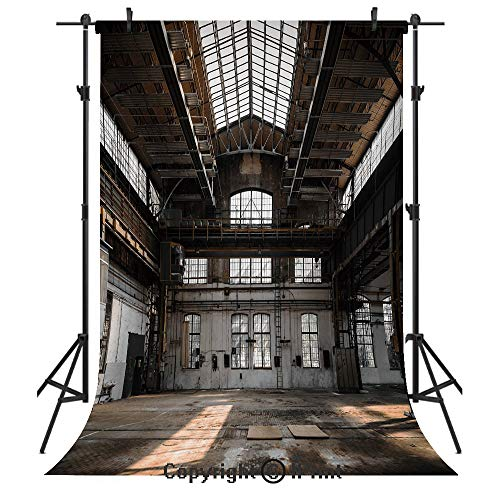 - Industrial Decor Photography Backdrops,Inside a Hangar Old Architecture Construction Urban Timeworn Windows Decorative,Birthday Party Seamless Photo Studio Booth Background Banner 3x5ft,Brown White Gr