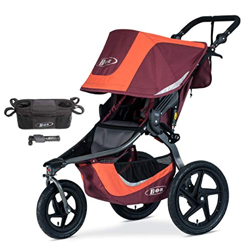 BOB Revolution Flex 3.0 Jogging Stroller, Sedona Orange with Handlebar Console and Tire Pump