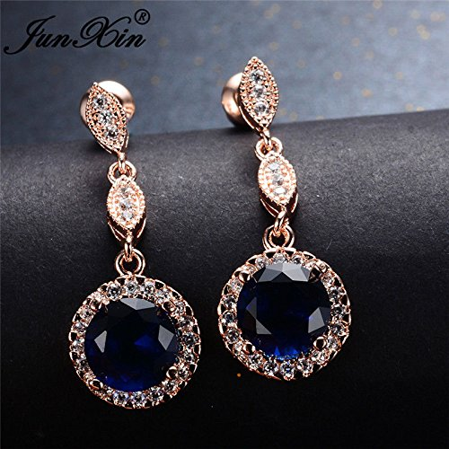 Phetmanee Shop Classic Round Cut Blue Sapphire Drop Dangle Earrings CZ Rose Gold Filled Jewelry