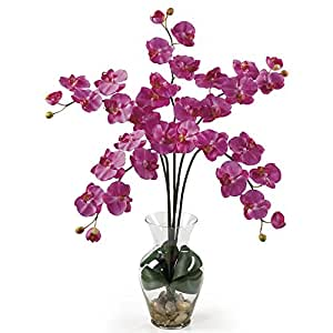 SKB Family Phalaenopsis Liquid Illusion Silk Flower Arrangement Natural Home Decor Dark Pink Floral