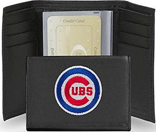 Chicago Cubs Tri Fold Wallet Leather Embroidered Bullseye Logo 13160 - Chicago Cubs Black Leather