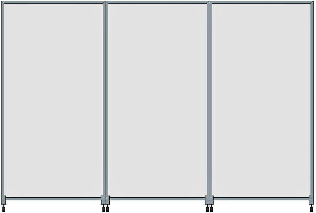 Fimel Pannello separ/é Antibatterico Mobile Pam 203 cm di Altezza Parete divisoria Dimensioni 100xh con Struttura in Alluminio,Piedi da 50 cm con apposizione di Ruote Vetro Satinato