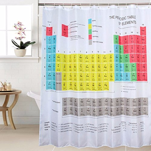 Cedmon Waterproof Updated 2018 Periodic Table of Elements Shower Curtain 72