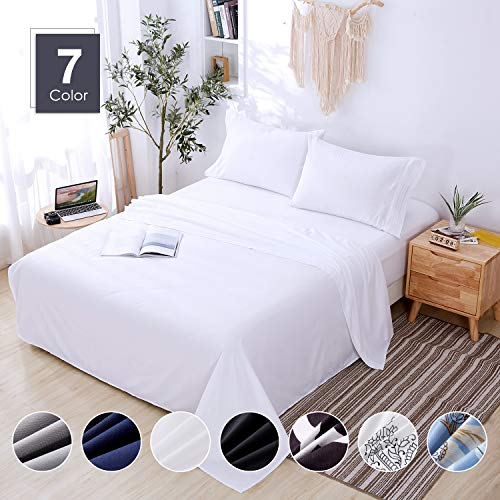 Agedate 4 Piece Brushed Microfiber Bed Sheets Set, Deep Pocket Bed Sheets Queen, Hypoallergenic, Easy to care, Fade, Stain and Wrinkle Resistant, Queen Size