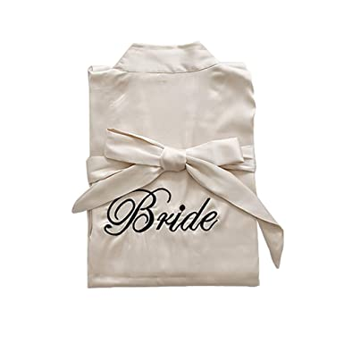 4639f75532 Hibote Wedding Dressing Gowns Bride Mini Robe Kimono Robe Sexy Bridal Party  Robe Printed Bridesmaid Robe