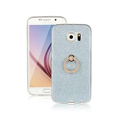 Luxus Bling Sparkle Style Case, Soft TPU [Silikon] Flexible Glitter Rückseitige Abdeckung mit Fingerring Stand für Samsung Galaxy S6 ( Color : White ) Blue