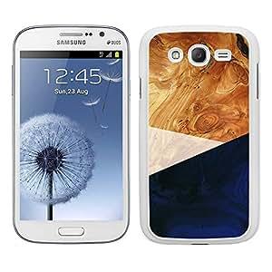 Funda carcasa TPU (Gel) para Samsung Galaxy Grand NEO Plus diseño efecto madera color azul borde blanco