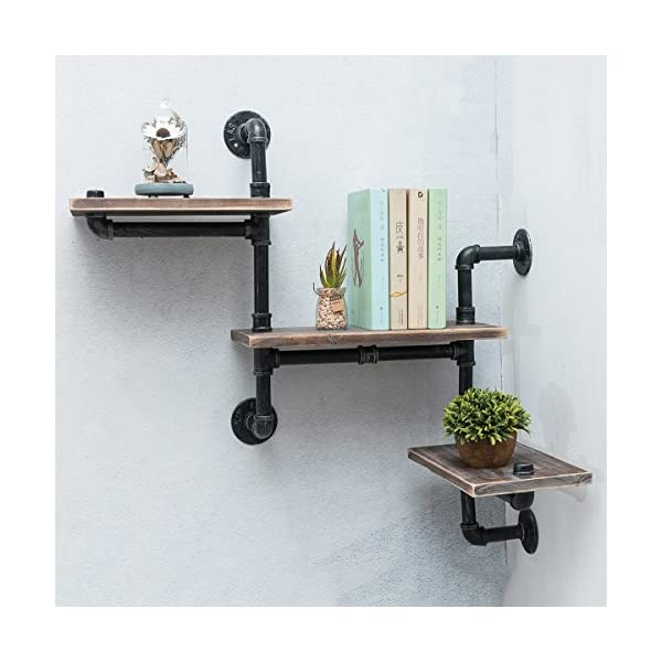 Industrial Bookshelf Pipe Shelves 3 Tiers,Rustic Wood Shelf Wall Mounted,Metal Corner Hung Bracket Shelving Floating… 4