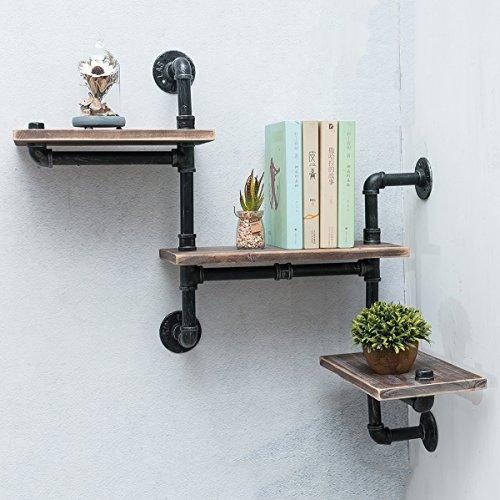 MBQQ Industrial Bookshelf Pipe Shelves 3 Tiers,Rustic Wood Shelf Wall Mounted,Metal Corner Hung Bracket Shelving Floating Shelves Steampunk Decor -