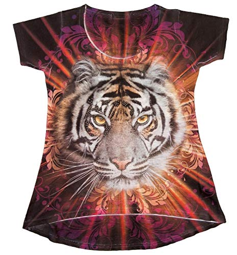 (Sweet Gisele | Tiger Face 3D T-Shirt | Womens Top | High Low Cut Rhinstone Tee)