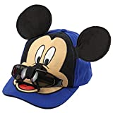 Disney Boys Mickey Mouse Cotton Baseball Cap - 100% Cotton (Blue with Removable Sunglasses)